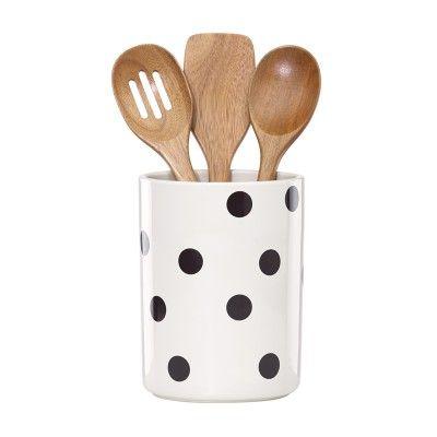 Kate Spade New York® Deco Dot Crock & Utensil Set #katespade #cookstools #giftsforgrads