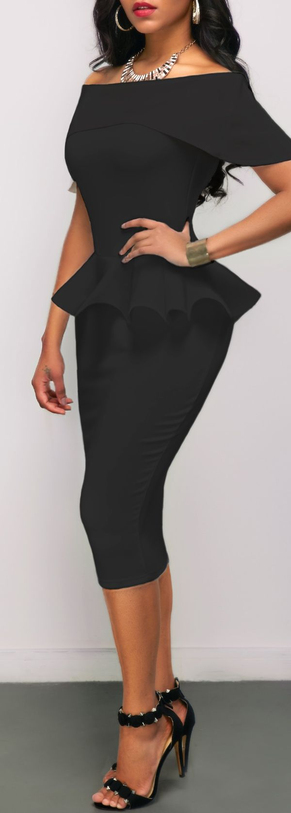 Peplum Waist Black Off the Shoulder Sheath Dress, womens fashion, classy, modest, sexiness, faster shipping, check it out at rosewe.com.