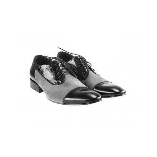 Pánske kožené spoločenské topánky čierno sivé PT152 - manozo.hu