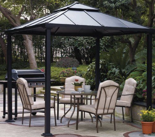 Gazebo Canopy. Pergola. Create An Inviting Gazebo Space In Your Backyard With This 8 Foot Square Hardtop Gazebo. Durable And Rust-Resistant, This Metal Gazebo Is A Hardtop Gazebo That Is An Excellent Source of Shade Creating A Relaxing Gazebo Space. Blue_Bay,http://www.amazon.ca/dp/B00J9OVXZ4/ref=cm_sw_r_pi_dp_E2Iztb0H82NX0VRY