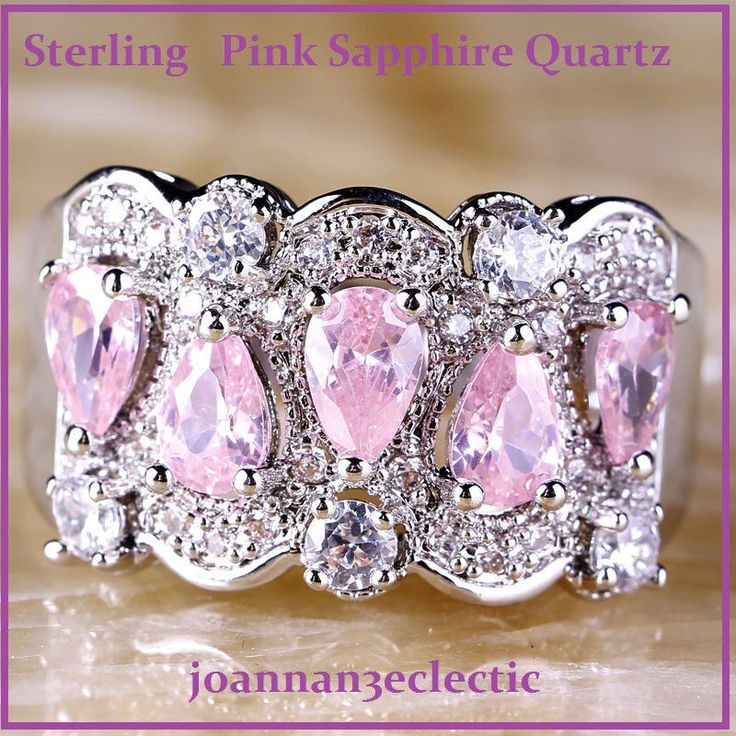 SIZE 10 Fine Pear Pink Sapphire Qrtz 34 Pcs. Wh. Topaz Gem .925 Ster Ring $19.90 #CocktailBandStatement
