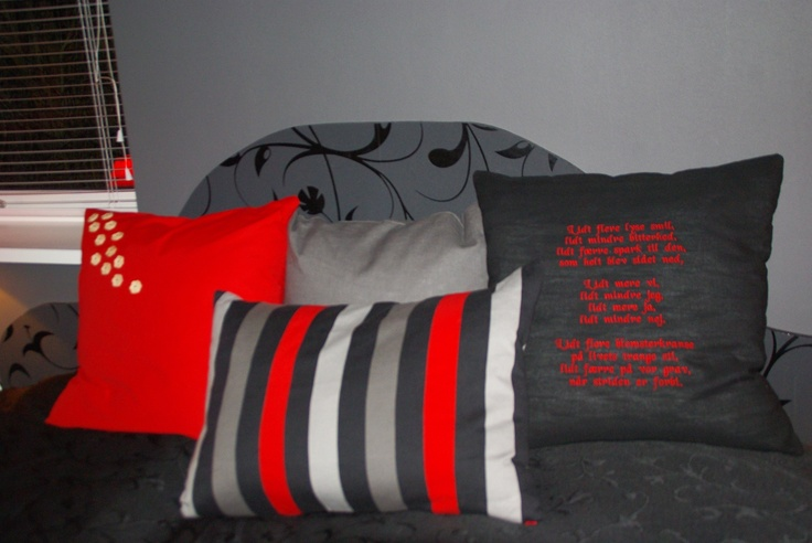 costume made headboard, and cusions with her favorite poem stiched on, just because no detail is too small.