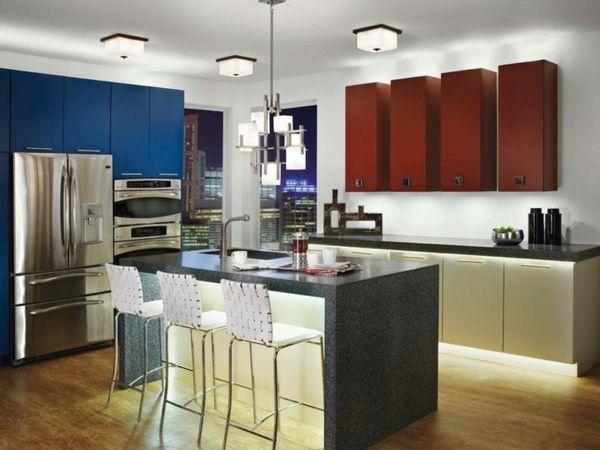 cuisine moderne avec lampes led plafond