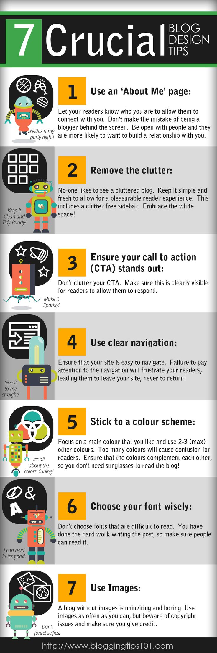 7 Crucial Blog Design Tips #Infographic