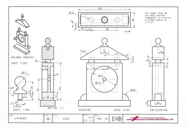 Exemplar orthographic drawing of a clock, produced in Pro/Engineer, for the Standard Grade Graphics course.