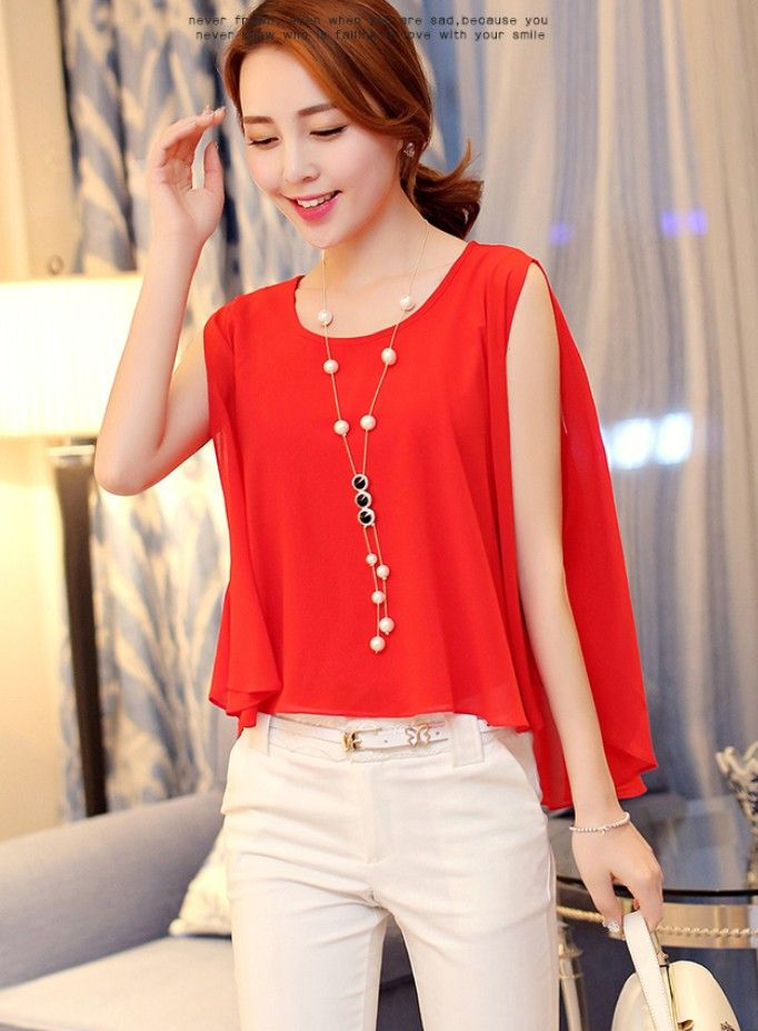 Asymmetric chiffon tank top #redfashion #koreanstyle #korean #cute