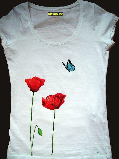 THE YLLW LINE: Camiseta Amapolas y mariposa (pintada a mano)