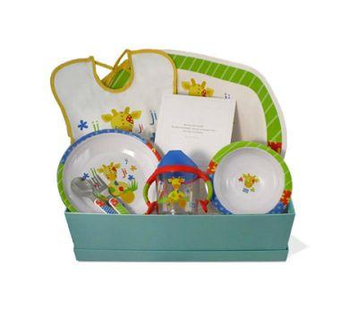 """""""Canastilla de bebé Color 1"""" - 50,50€ (envío a la península incluido) Incluye Caja forrada; Mantelito; Babero; Plato llano; Bol; Taza de aprendizaje; Cuchara; Tenedor"""