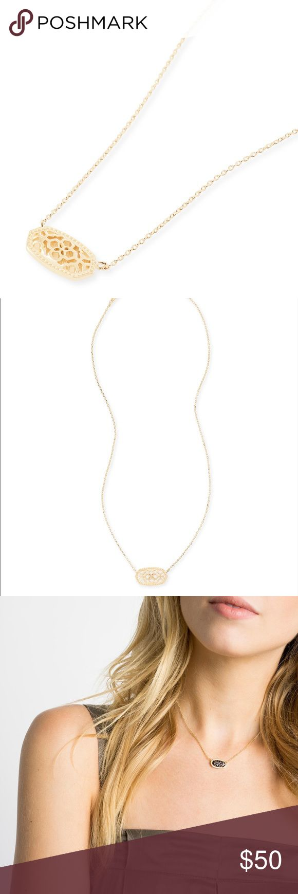"""NWT!! Kendra Scott gold Elisa filigree necklace!! Beautiful 'Elisa' necklace from Kendra Scott!! Brand new with tags!! 14K gold plated over brass, with a lobster clasp closure. The pendant is 0.63""""L x 0.38""""W, on a 15"""" chain with a 2"""" extender. This necklace matches everything!! It can be worn alone or layered for a unique look. Kendra Scott dust bag and necklace card will be included. The 3rd picture is just to show what this style of necklace looks like while wearing. Kendra Scott Jewelry…"""