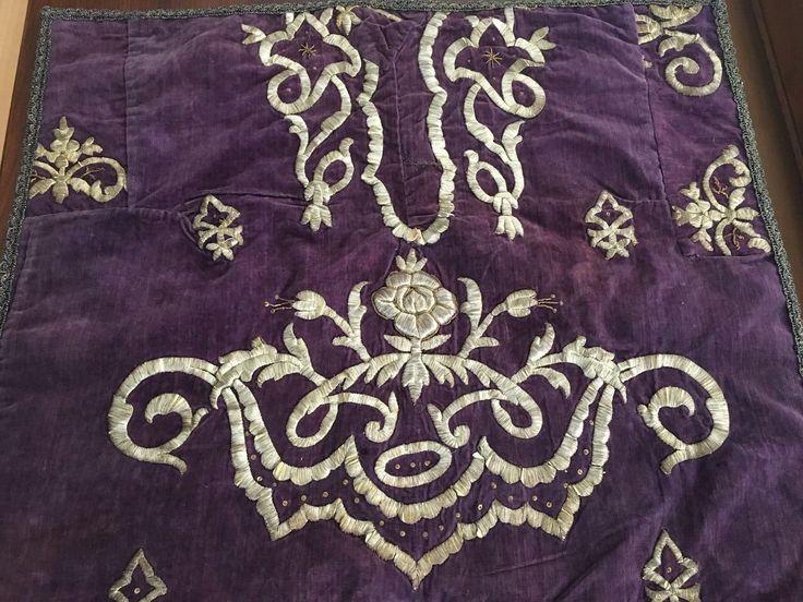Antique Ottoman Turkish Silver Metallic Hand Embroidered Panel 4