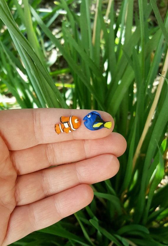 Nemo and Dory studs or magnetic earrings, inspired.Disney Pixar jewelry.Dory finding Nemo. Hight quality jewelry. Jewelry for kids and adult