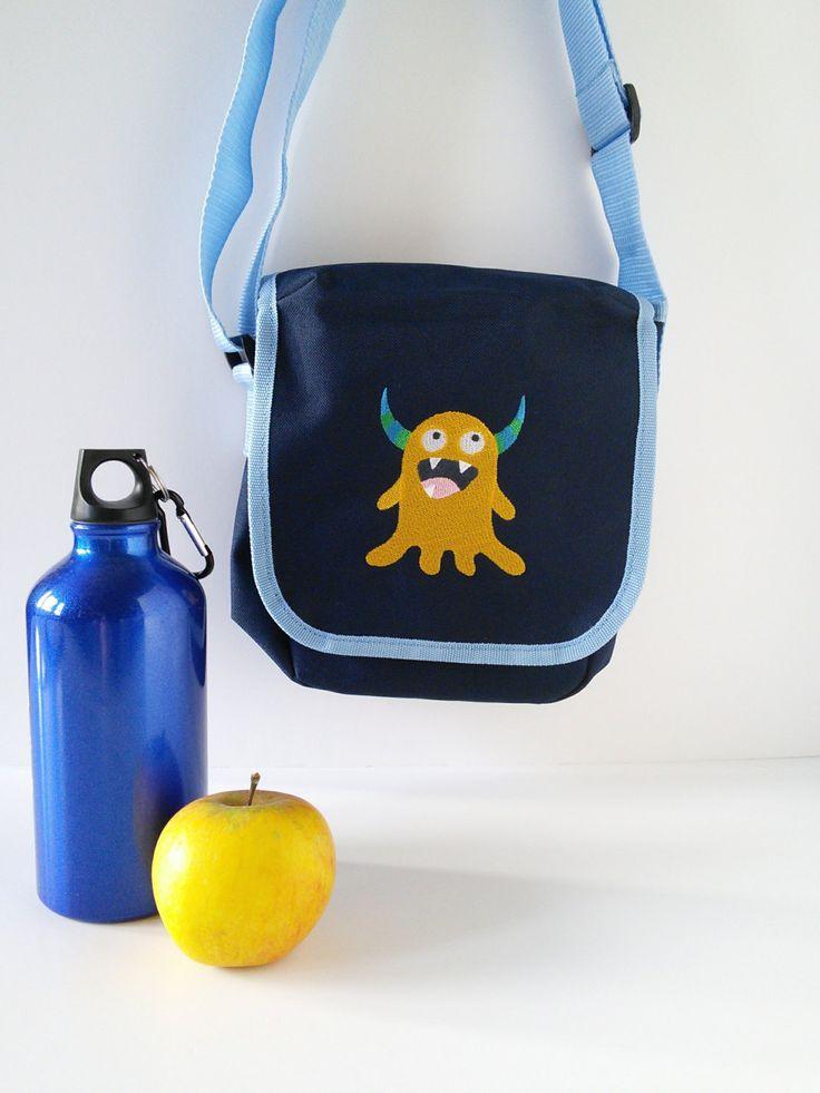 Lunch bag for kids, lunch bag, navy blue bag, shoulder bag, friendly monster bag,school bag, back to school, children's bag, bag for teens. by JaneAtNumber13 on Etsy