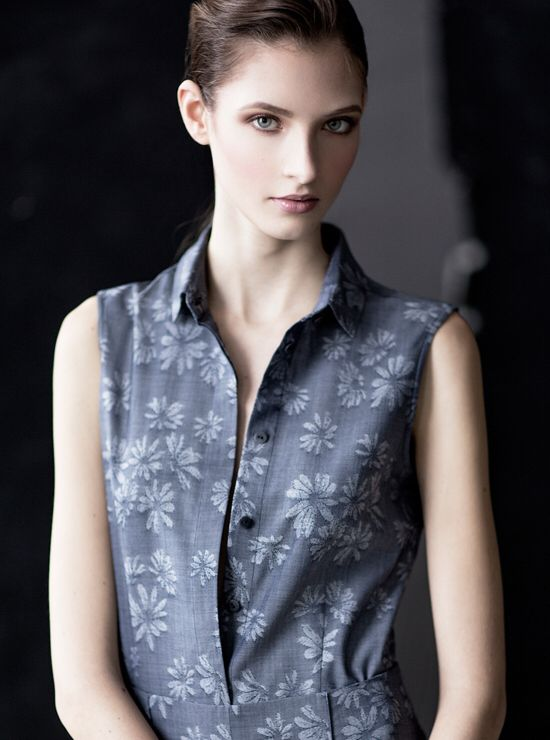 Luxe superfine wool floral jacquard sleeveless shirt.