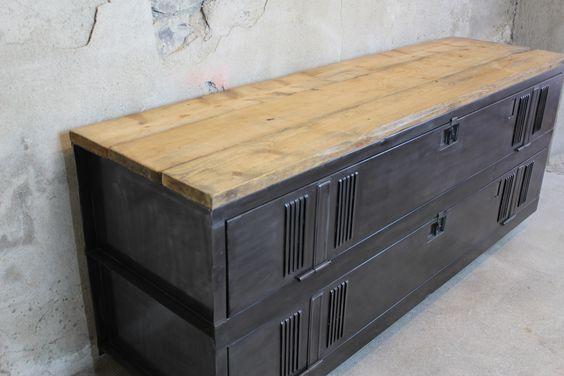annecy-meuble tv style industriel ancien vestiaire patiné bois acier