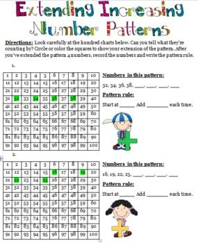 Patterns! Increasing and decreasing patterns and pattern rules for pictures and numbers