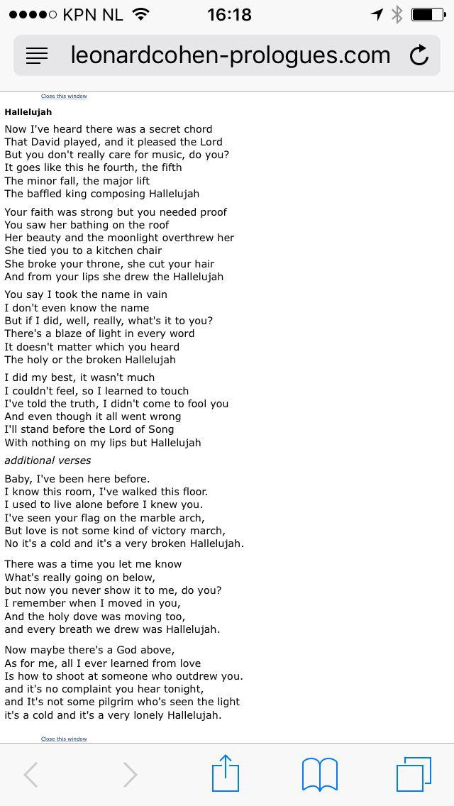 Leonard Cohen - Hallelujah lyrics   Hallelujah lyrics, Leonard cohen hallelujah, It goes like this