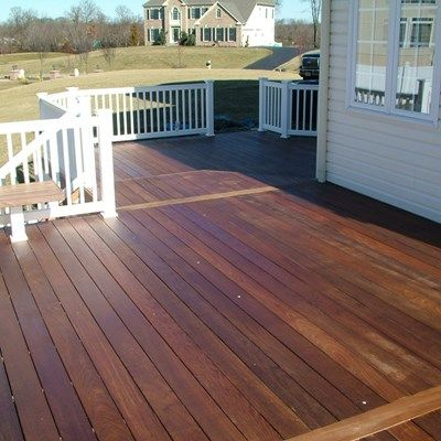Custom Deck Designed and Built by Yannuzzi and Sons 3 levels, Benching, 3 Angled stairs, Solid vinyl skirting