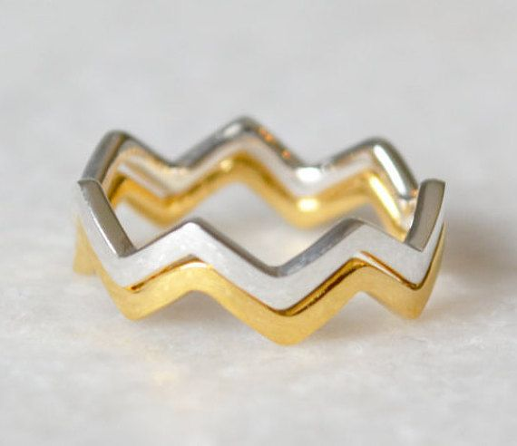 Sterling Silver Geometric Double Zig Zag Stacking Ring Set by ShopZYLA