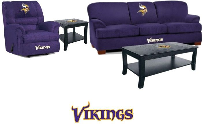 [[start Tab]] Description The Minnesota Vikings NFL Mega Fan Cave Set Is  Made For The Big And Tall Fan. Plus, We Have Added The Matching Coffee  Table And ...