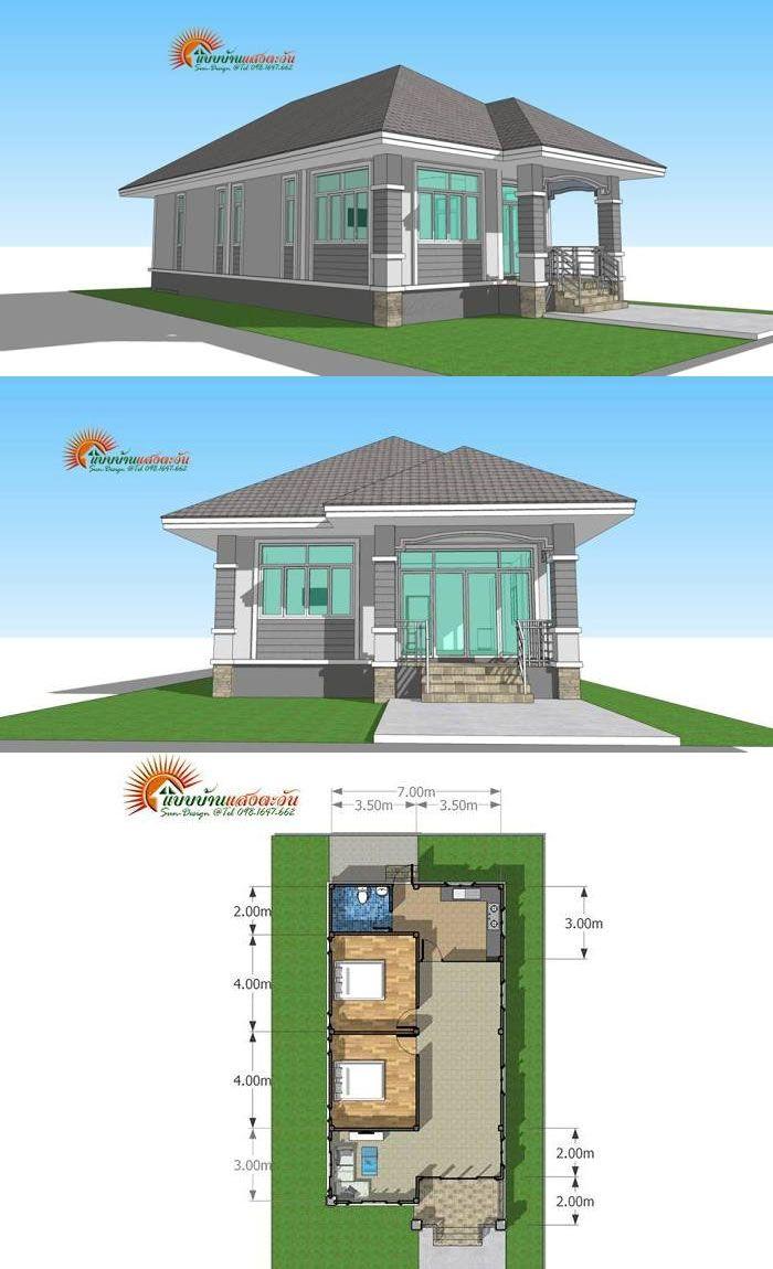 Compact And Cozy Two Bedroom Bungalow Denah Desain Rumah Arsitektur Desain Rumah Modern