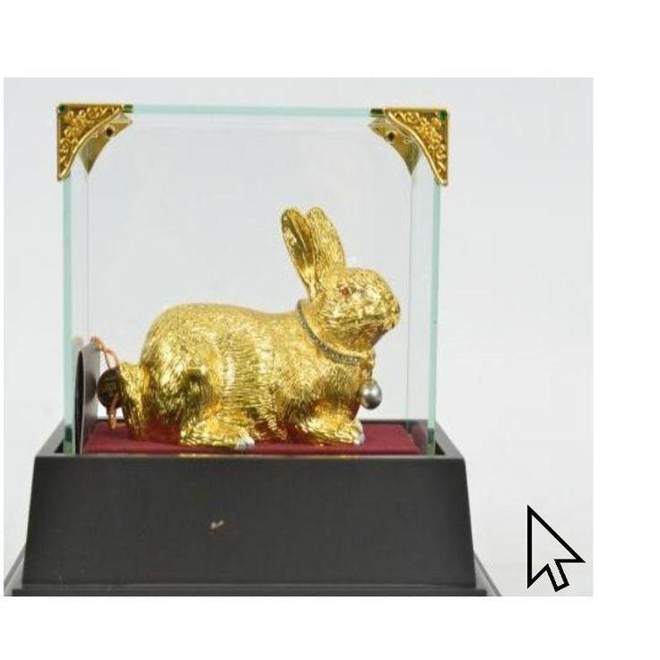 24K золота позолотой стеклянный дисплей пасхальный кролик бронзовая скульптура статуэтка fi q | eBay