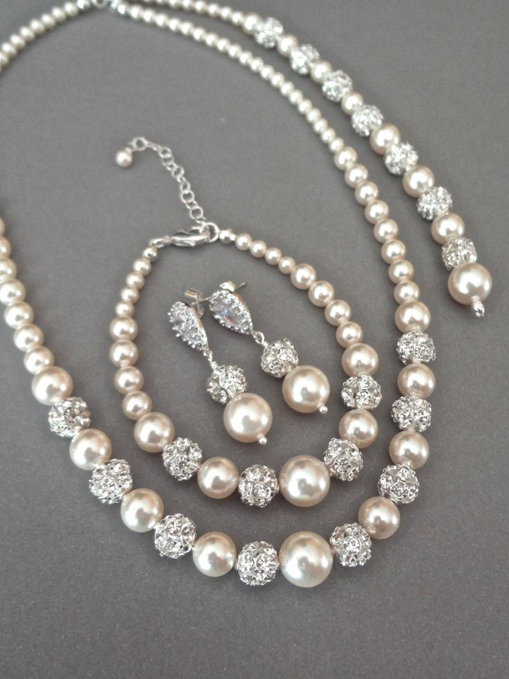 Lux Accessories Silver Tone Rhinestone Faux Pearl Ball Pattern Jewelry Set 3PC HUQEmJYMb3
