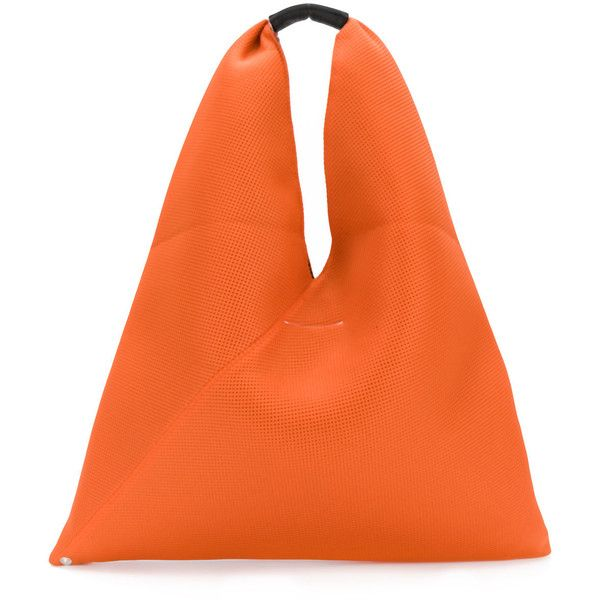 Mm6 Maison Margiela perforated triangle tote (€160) ❤ liked on Polyvore featuring bags, handbags, tote bags, leather tote, orange leather handbag, orange tote bag, tote purses and orange leather tote
