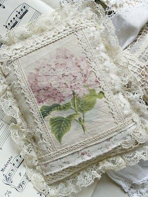 Hydrangea pillow -- could use this as an idea for an art journal cover