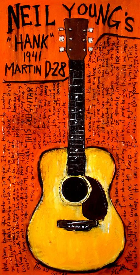 Karl Haglund: Acrylic and charcoal GUITAR painting