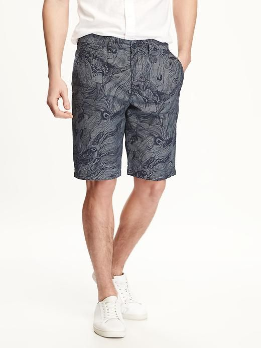Printed Ultimate Slim-Fit Chambray Shorts for Men - Old Navy.com