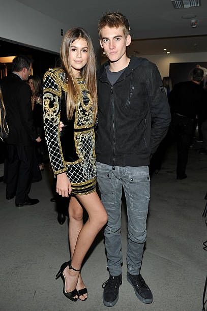 Model Kaia Jordan Gerber (L) and Presley Walker Gerber attend a book party in honor of 'Becoming' by Cindy Crawford, hosted by Bill Guthy And Greg Renker, at Eric Buterbaugh Floral on December 4, 2015 in West Hollywood, California.
