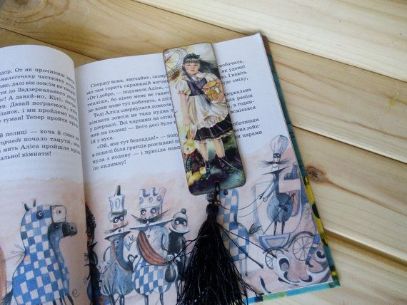 Wooden bookmark Decoupage bookmark wood Valentines gift for daughter Accessories for book Alice in Wonderland Gift for girlfriend