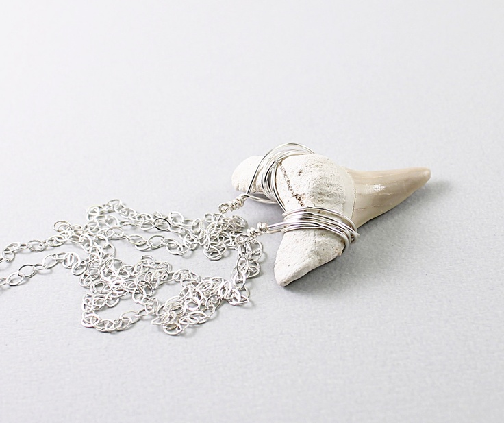 Shark tooth necklace: fossil jewelry #fashion #shark #tooth #teeth #fossil #jewelry #designer #natural #ocean #nautical #beach