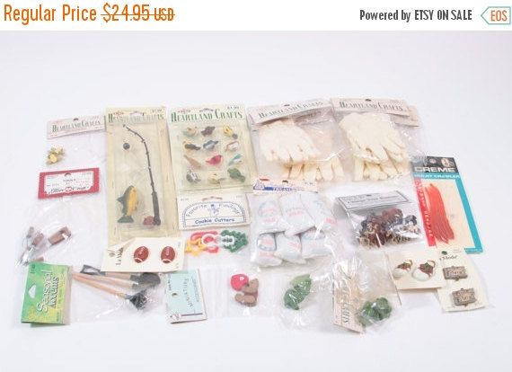 Giant Collection of Vintage Craft Supplies Dollhouse Miniatures - Birds Tools Fishing Pole Buttons Frogs Cooke Cutters gloves 160926 by ThePinkRoom