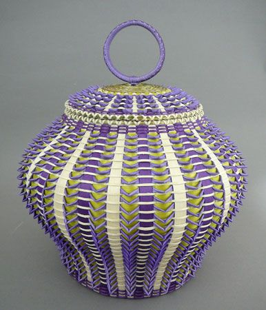 Three toned basket basket by Jeremy Frey, Passamaquoddy | Woven from brown ash with sweetgrass trim.