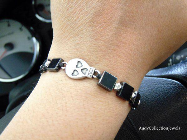 Halloween Gothic Skull Men's Women's Hematite Beaded Bracelet