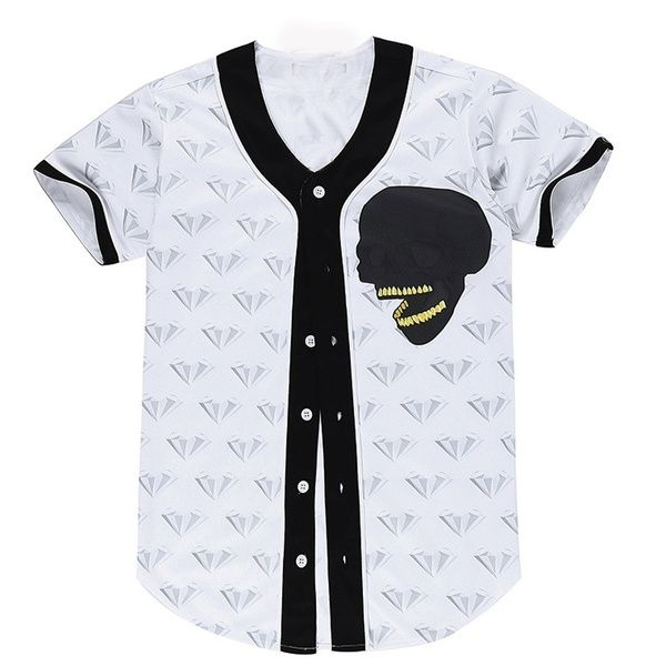 Wish | Fashion Casual 3D Skull Print Hipster Casual Men's Baseball Jersey Top Hip Hop Open T Shirt Cardigan
