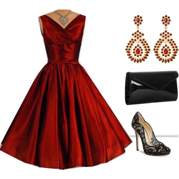 Vintage Christmas! I want all of this!!!  Where was this dress when I was looking for it for my son's wedding!  Love it! The heels could be lower or even flat and it would still be just as classy!