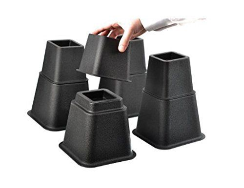 Product review for (Set of 4) Black Adjustable Bed Risers / Bed Lifts / Furniture Risers – Super Quality, Super Strong, Heights of 8 ¾'', 3 ¾'', 6''.  - These pack of 8 adjustable black bed risers are a great way to gain 6'', 8 ¾'' and 3 ¾'' of storage space. Could be conveniently used on basically any type of bed, either foot or head of bed can be raised for medical conditions. These sturdy blocks instantly elevate ....  Cont