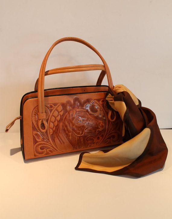 Vintage Brown Tooled Leather Handbag  Leather by FunkieFrocks