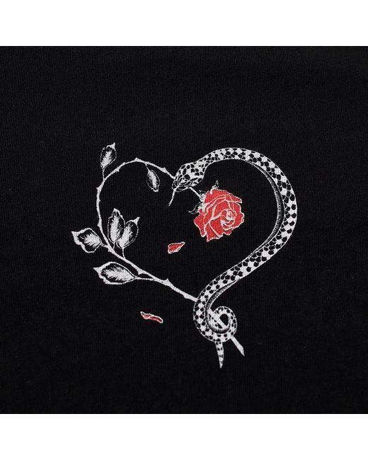 7629c87f74e Saint Laurent - Black Snake And Rose Heart Motif T-shirt for Men - Lyst