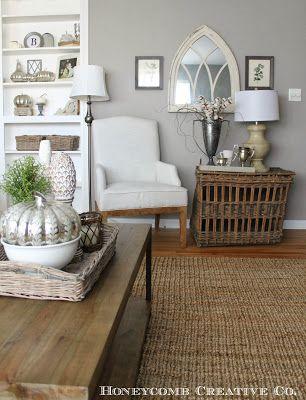 Neutral living room hardwood floors white upholstery for Grey neutral living room
