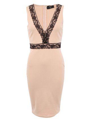 AX Paris - Béžové šaty s krajkovými detaily - 1