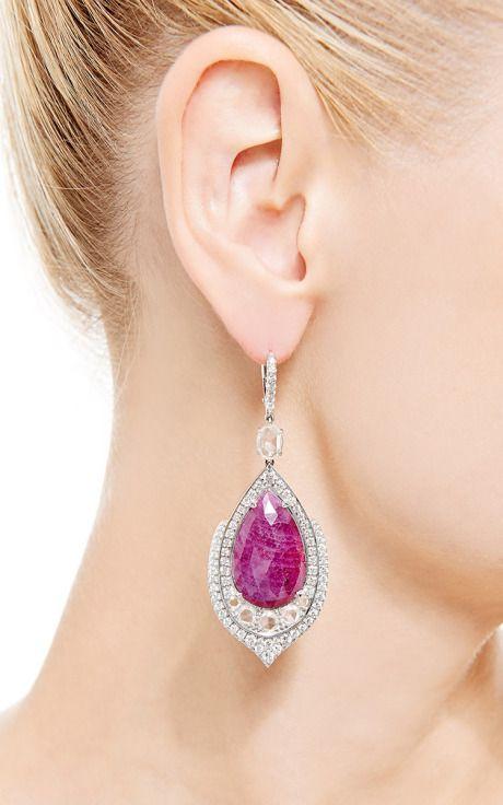 One Of A Kind Pear Shape Ruby Earrings With Rose Cut Diamonds by Nina Runsdorf for Preorder on Moda Operandi