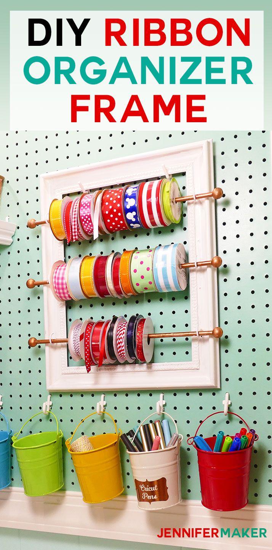 DIY Ribbon Organizer and Storage Frame for your Organized Craft Room! | #craftroom #organization #diy | cute pegboard accessories | ribbon rod