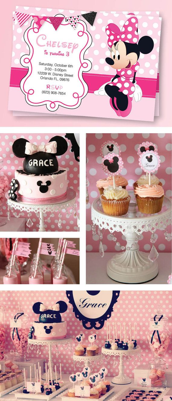 Minnie Mouse Birthday Party Set, Minnie Mouse Invitation, Labels, Thank you Cards, Banner & so much more!