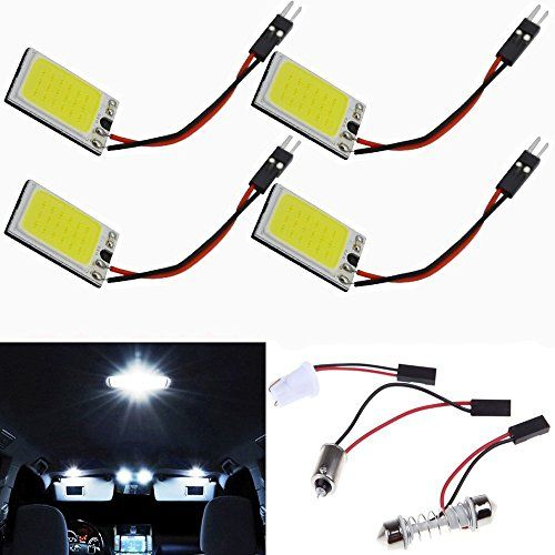 Best price on Everbright 4-Pack Super White New Energy-saving COB 18-SMD LED Panel Dome Lamp Auto Car Interior Reading Plate Light Roof Ceiling Interior Wired Lamp With 4× BA9S Adapter,4 × T10 Adapter,4 × Festoon Adapter(31mm-41mm) (DC-12V) //   See details here: http://bestmotorbikereviews.com/product/everbright-4-pack-super-white-new-energy-saving-cob-18-smd-led-panel-dome-lamp-auto-car-interior-reading-plate-light-roof-ceiling-interior-wired-lamp-with-4x-ba9s-adapter4-x-t10-adapter4…