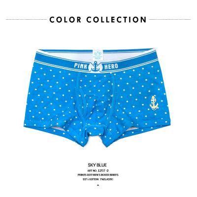 Pink Heroes 4pcs/lot Mens Underwear Boxers Polka Dot Print Underwear Men Boxer Sexy Cotton Couple Stripe Underwear Men shorts