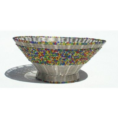 DECORATIVE BOWL Made in AFRICA - Bowl made from Wire and Brightly colored Glass Seed Beads