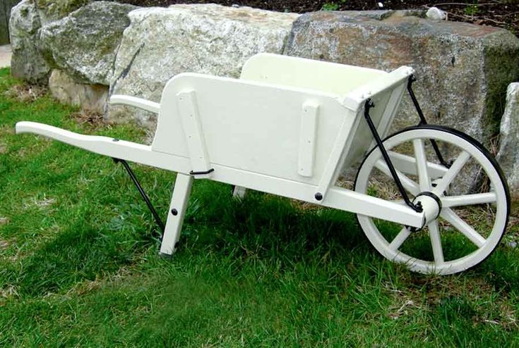 Amish Antique White #Mini Wooden #Wheelbarrow #Planter